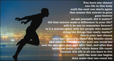 This minute is gone forever. Ask yourself; did it matter?