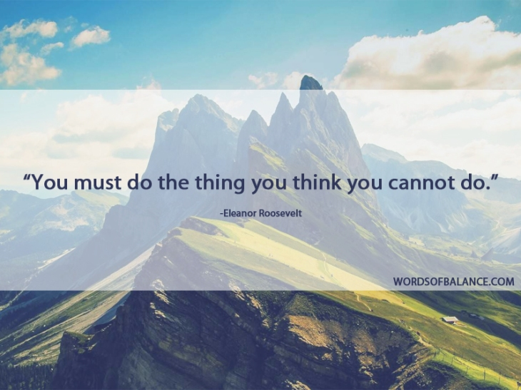 YOU MUST DO THE THING YOU THINK YOU CANNOT